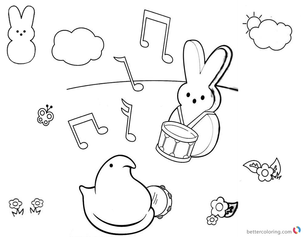 Peeps Coloring Pages Playing Music printable for free