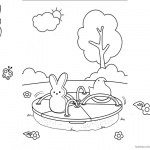 Peeps Coloring Pages Playing Outside