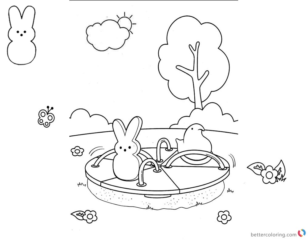Peeps Coloring Pages Playing Outside printable for free