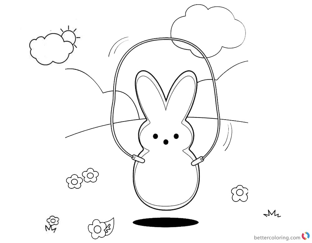 Peeps Coloring Pages Playing Rope Skipping printable for free