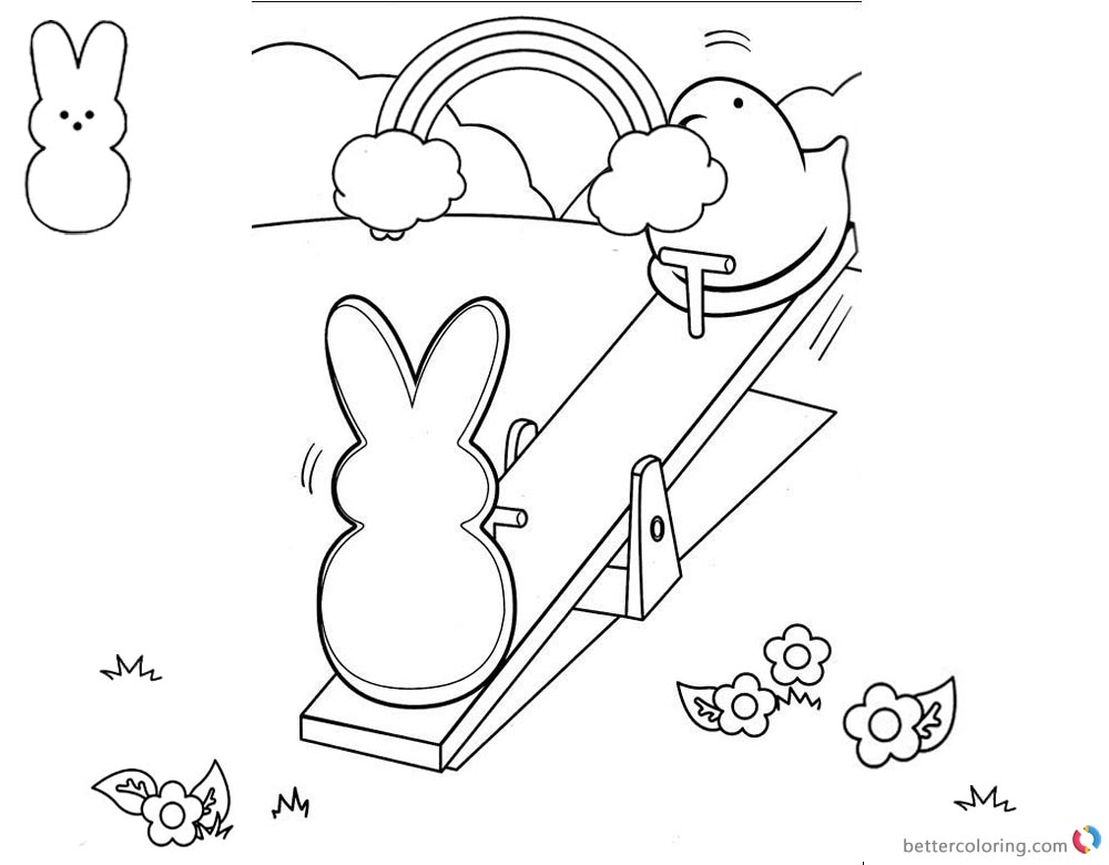 Peeps Coloring Pages Playing Seesaw printable for free