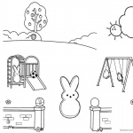 Peeps Coloring Pages Playing Slide and Swing