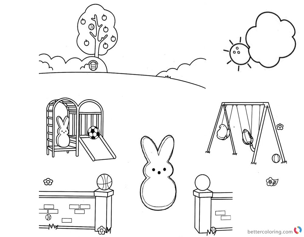 Peeps Coloring Pages Playing Slide and Swing printable for free