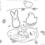 Peeps Coloring Pages Playing Toy Boat