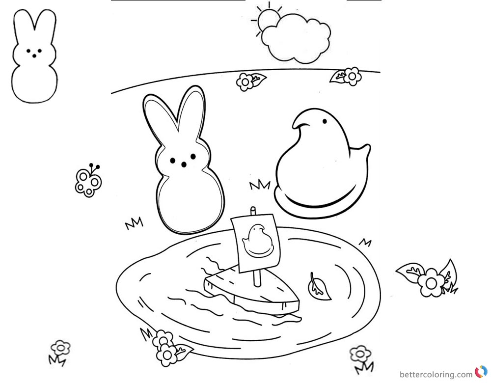 Peeps Coloring Pages Playing Toy Boat printable for free