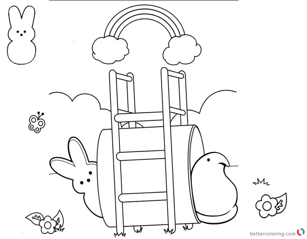 Peeps Coloring Pages Playing Under the Rainbow printable for free