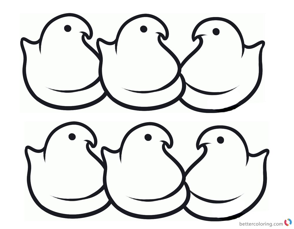 Peeps Coloring Pages Simple Six Chicks Line Art printable for free