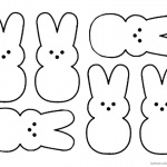 Peeps Coloring Pages Six Bunnies Clipart Picture