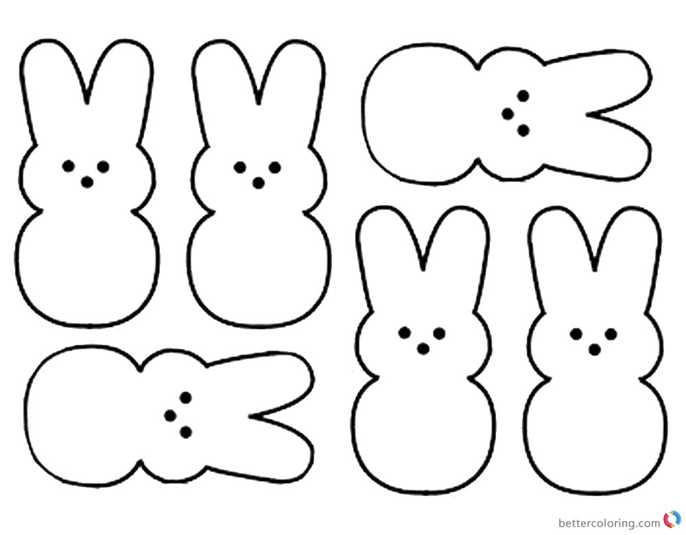 Peeps Coloring Pages Six Bunnies Clipart Picture printable for free