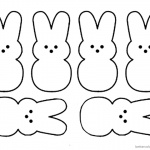 Peeps Coloring Pages Six Bunnies Pattern