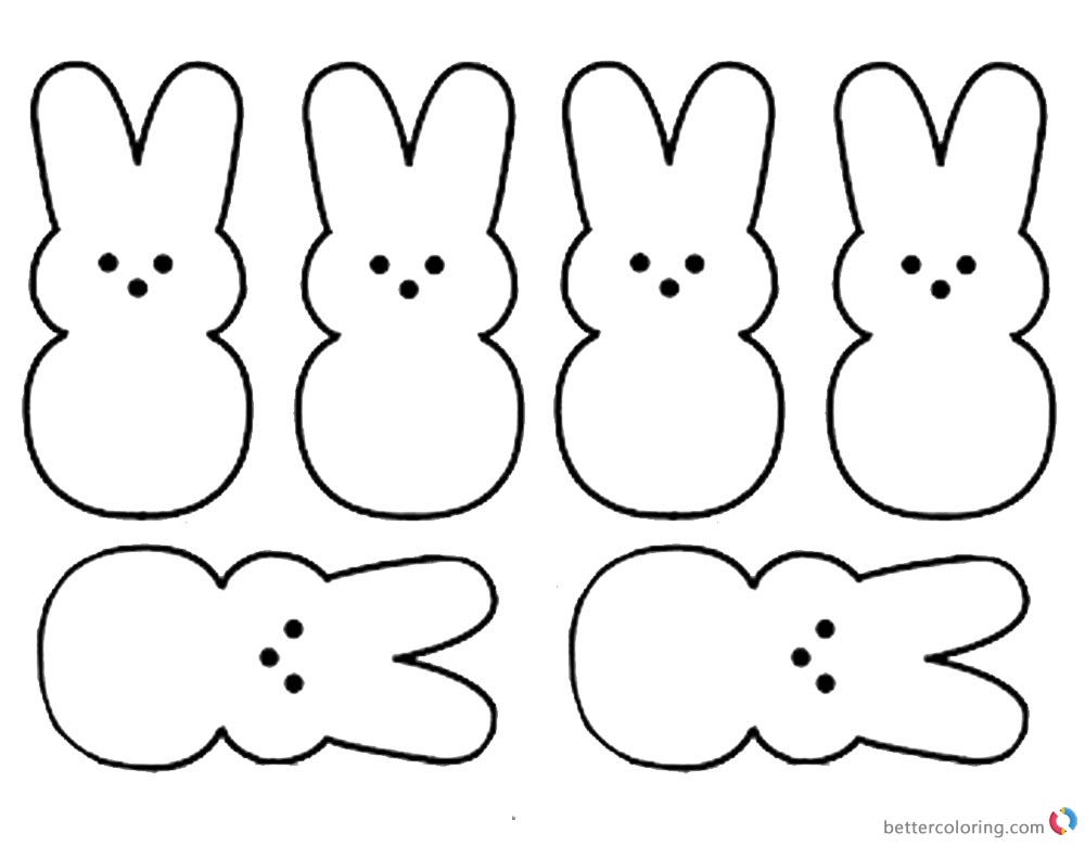 Peeps Coloring Pages Six Bunnies Pattern printable for free