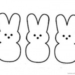 Peeps Coloring Pages Three Easter Bunnies Pattern