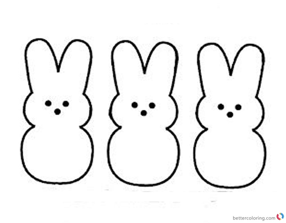 Peeps Coloring Pages Three Easter Bunnies Pattern printable for free