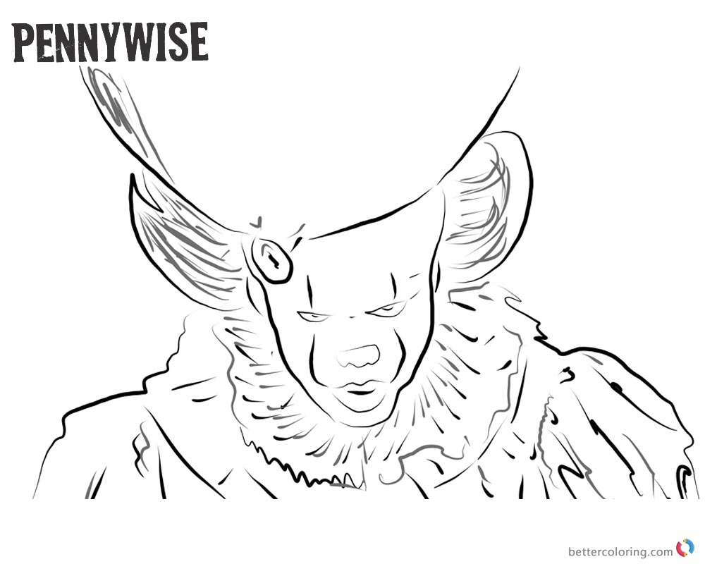 Pennywise Coloring Pages Clown Peenywise Black and White printable for free