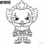 Pennywise Coloring Pages Draw Cartoon Style Pennywise the Clown