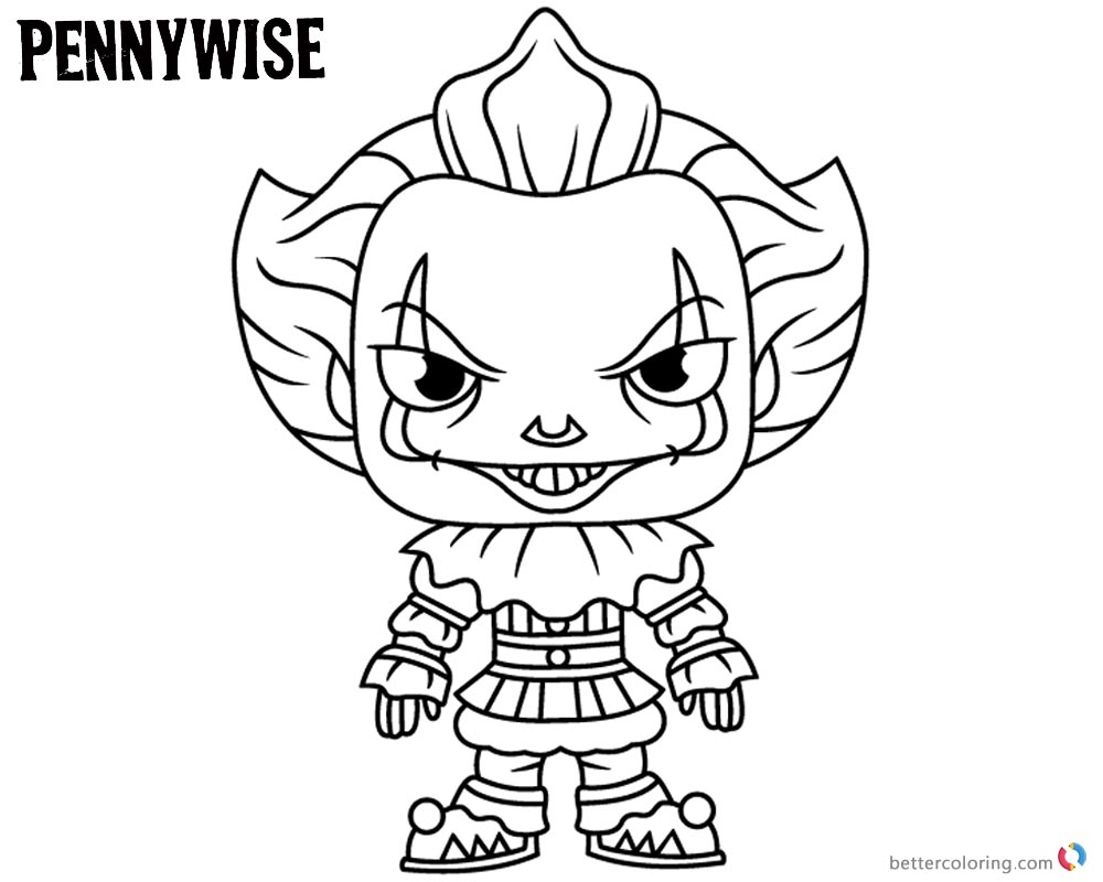 Pennywise Coloring Pages Draw Cartoon Style Pennywise the
