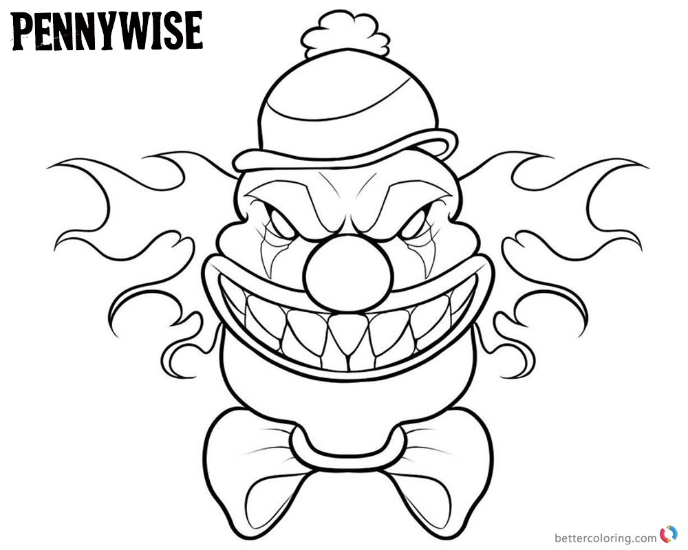 Pennywise Coloring Pages Draw Chibi Pennywise printable for free