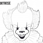 Pennywise Coloring Pages Inktober Black and White