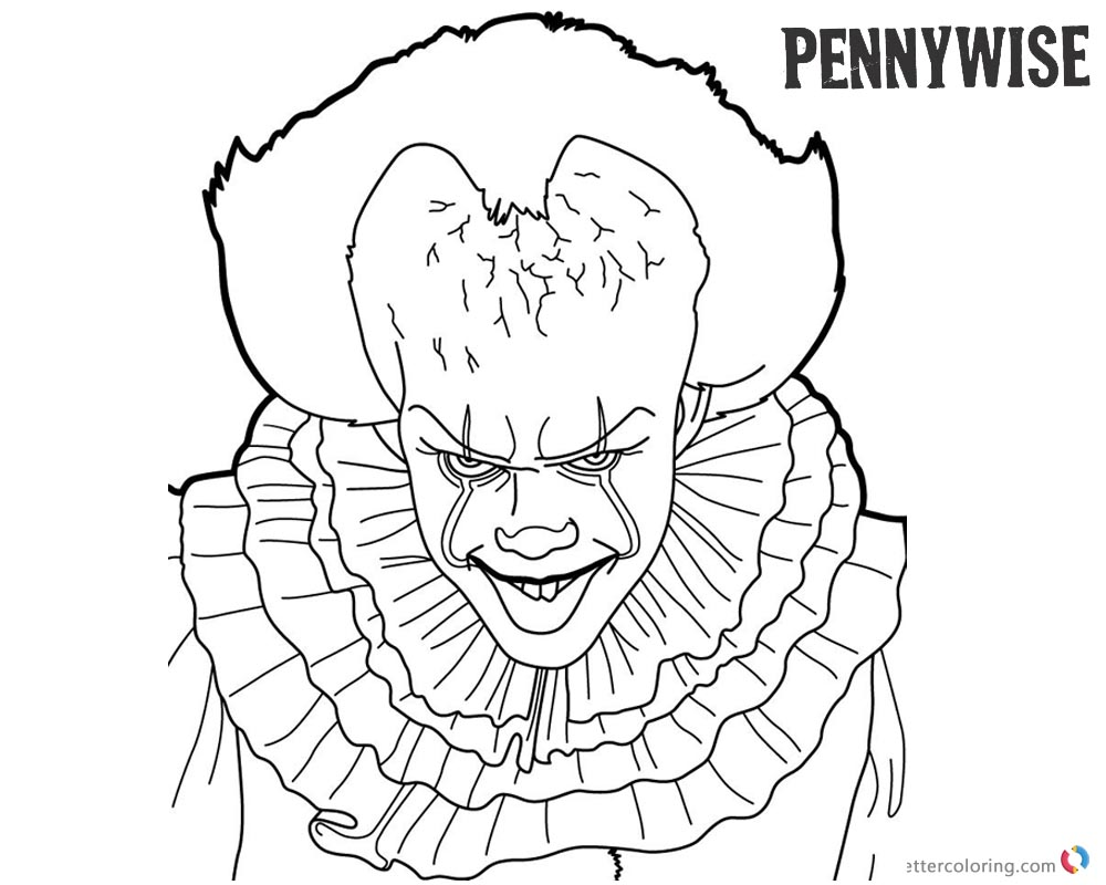 Pennywise Coloring Pages Inktober Black and White Free