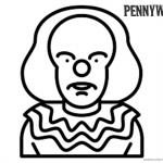 Pennywise Coloring Pages Simple Drawing Chibi Pennywise