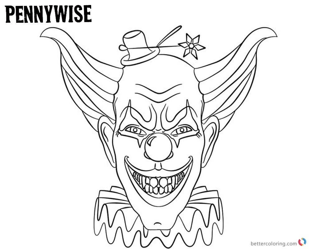 Pennywise Coloring Pages with A Small Hat - Free Printable ...