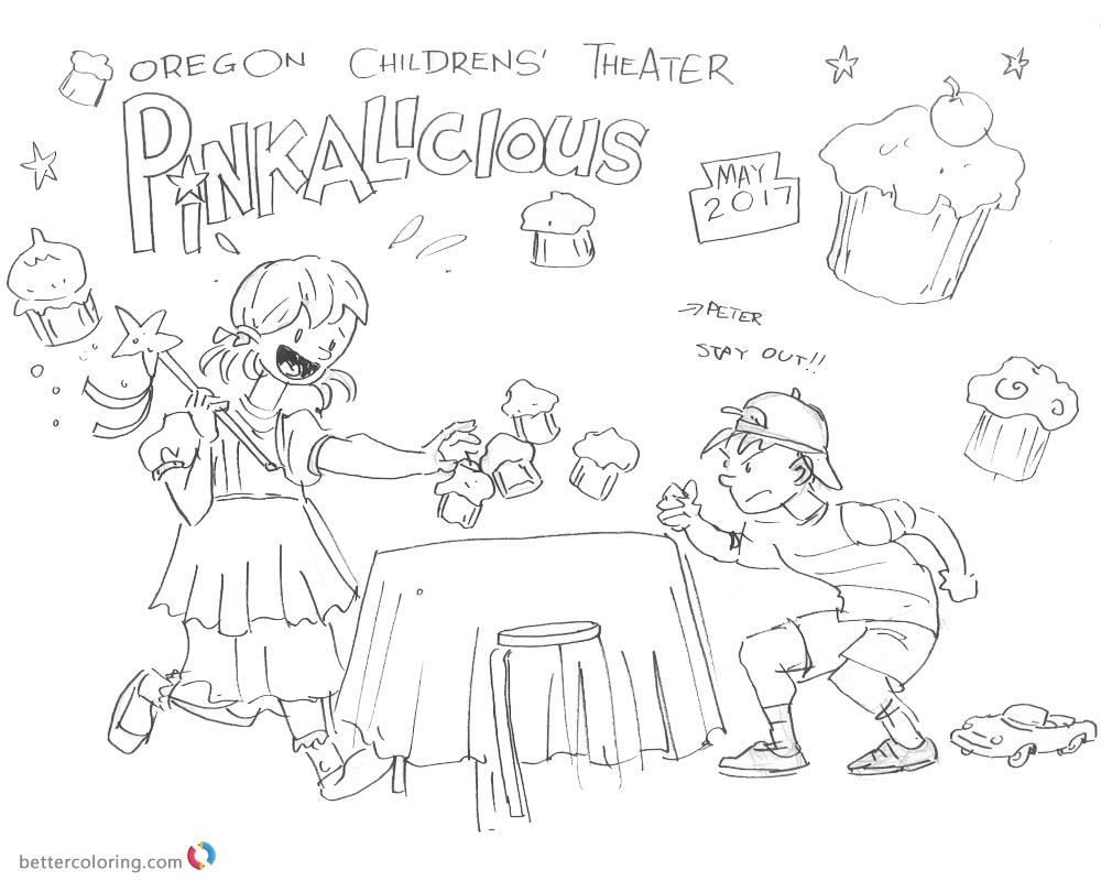 Pinkalicious Coloring Pages Kids Fanart Run for Cupcake ...