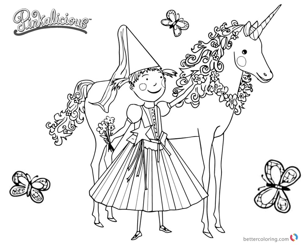 Pinkalicious Coloring Pages Unicorn And Butterflies Free