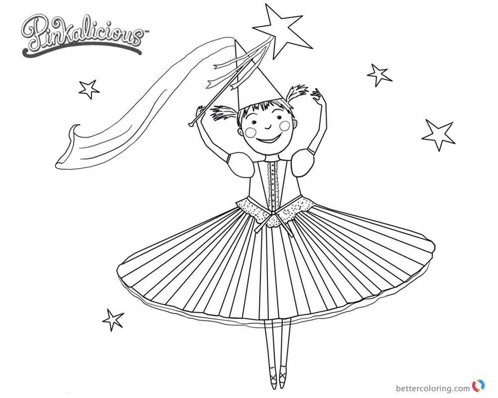 Pinkalicious Coloring Pages dancing time - Free Printable Coloring Pages