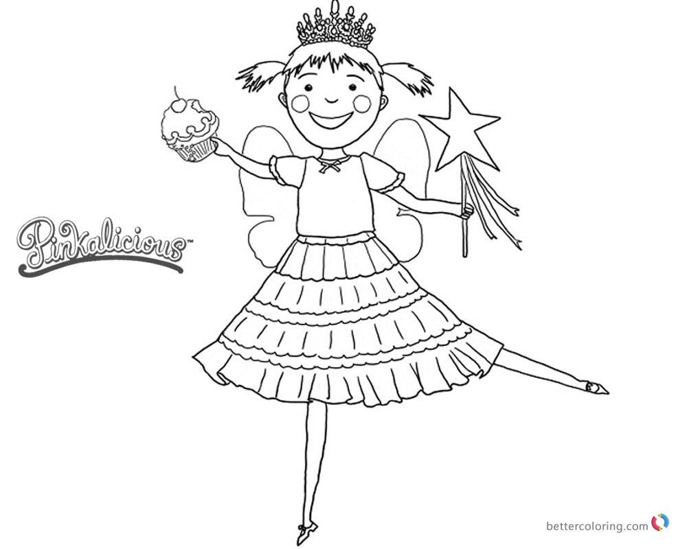 Pinkalicious Coloring Pages Dancing With Cupcake Free