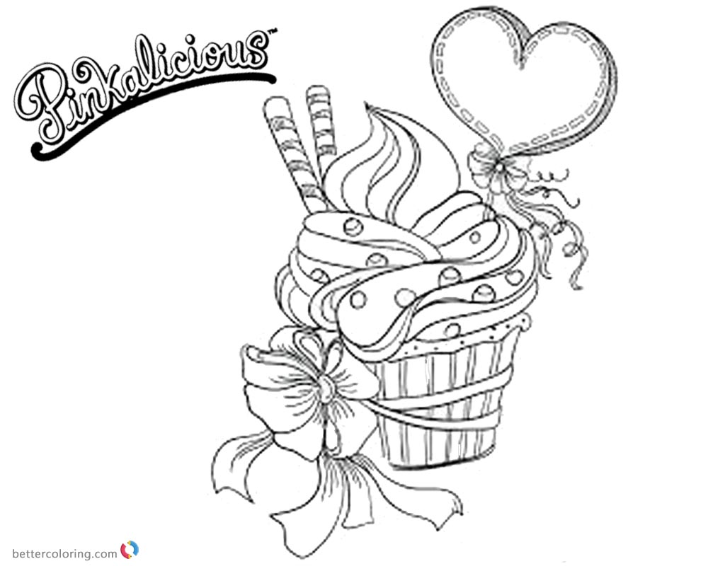 Pinkalicious Coloring Pages Fancy Cupcake printable