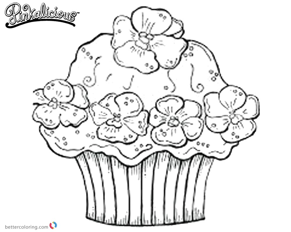 Pinkalicious Coloring Pages Flowers Cupcake printable