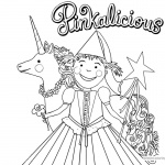 Pinkalicious Coloring Pages with flower and Unicorn