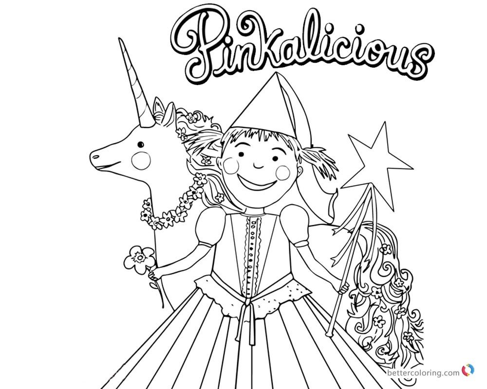 Pinkalicious Coloring Pages with flower and Unicorn Free