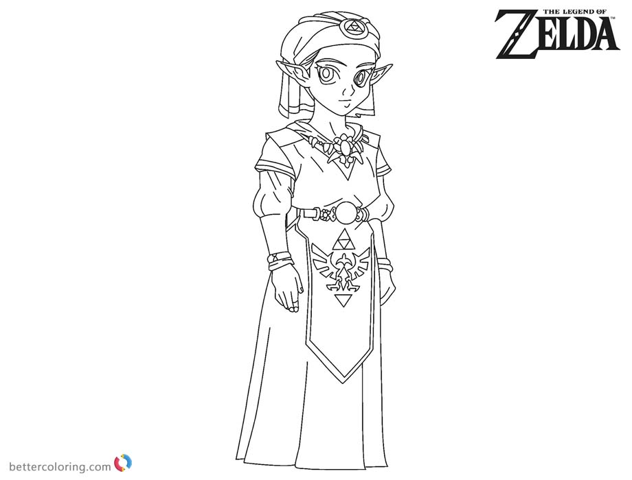 Princess Zelda Coloring Pages Black and White printable for free