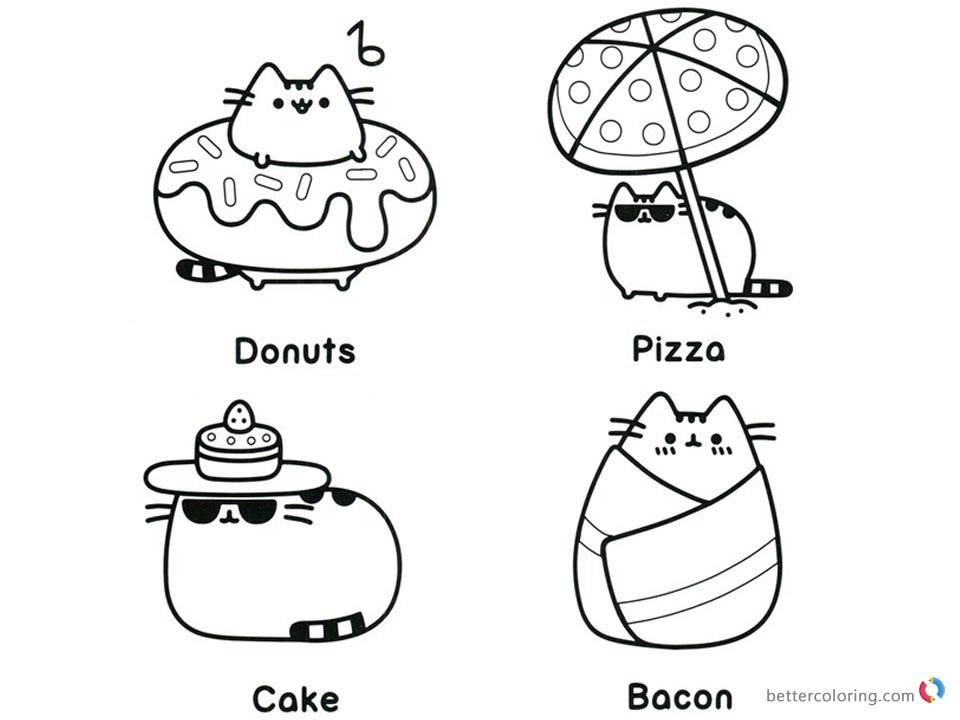 Pusheen Coloring Pages Beach Essentials Free Printable