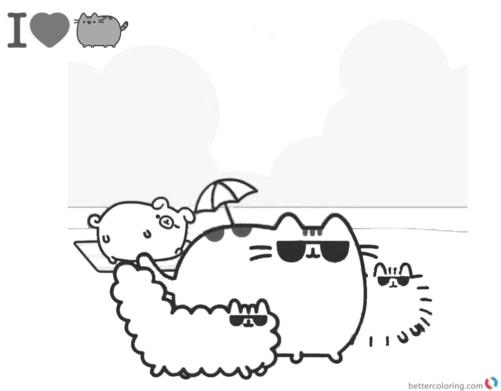 Pusheen Coloring Pages Beach Sunshine Time