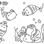 Pusheen Coloring Pages Beautiful Mermaid