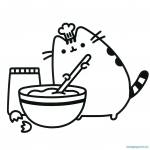 Pusheen Coloring Pages Cooking