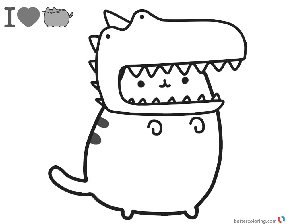 Pusheen Coloring Pages Cute Dinosaur Hat printable and free