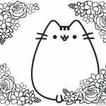 Pusheen Coloring Pages Cute Pusheen with Flowers