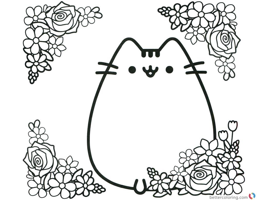 Pusheen Coloring Pages Cute Pusheen with Flowers printable and free