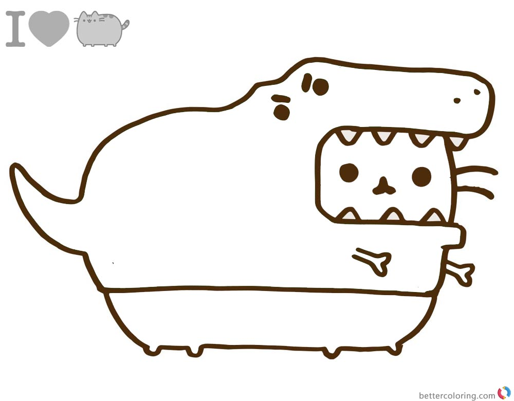 Pusheen Coloring Pages Dinosaur Cosplay on I Love You Coloring Pages