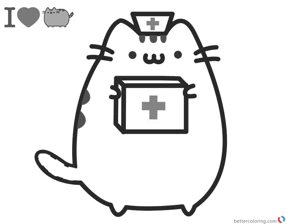 Pusheen Coloring Pages Doctor Cosplay printable and free