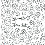 Pusheen Coloring Pages Donuts World Pattern