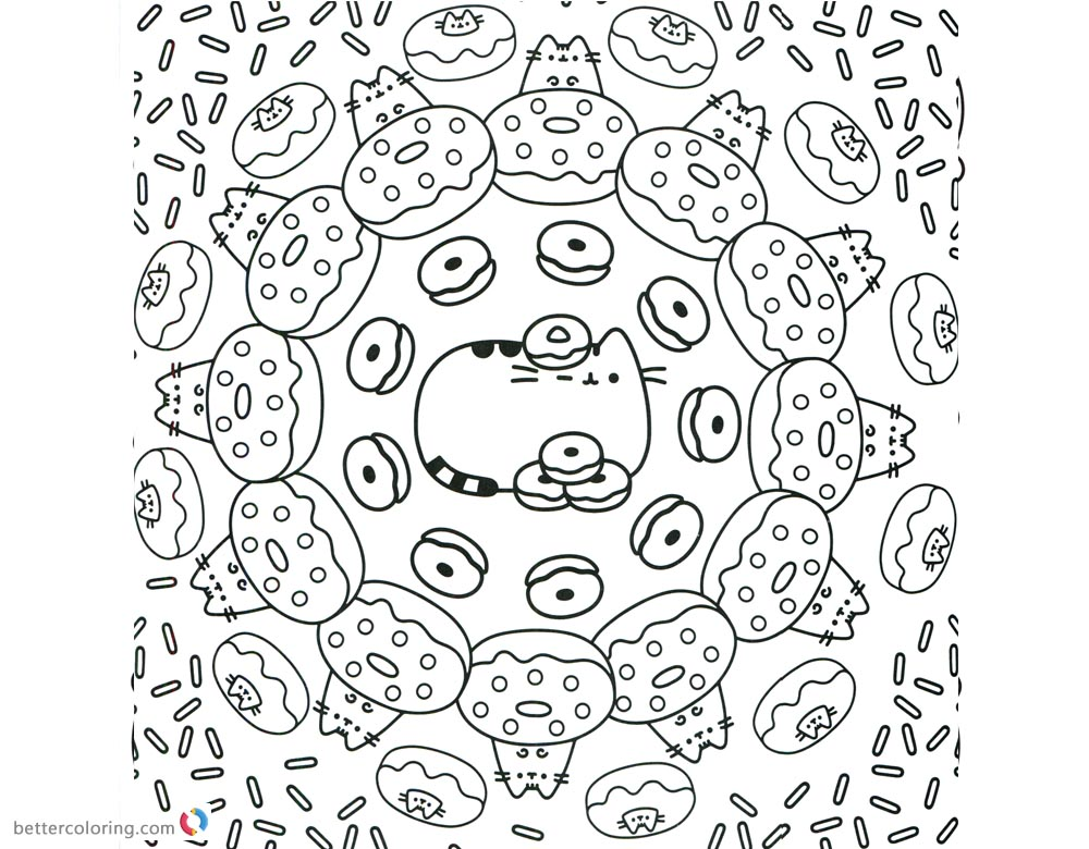 Pusheen Coloring Pages Donuts World Pattern printable and free