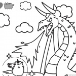Pusheen Coloring Pages Fighting Against Dragon