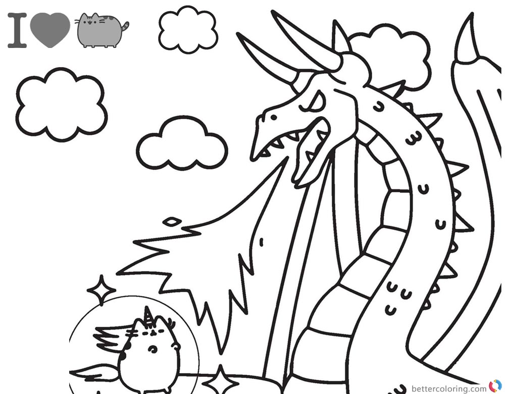 Pusheen Coloring Pages Fighting Against Dragon printable and free