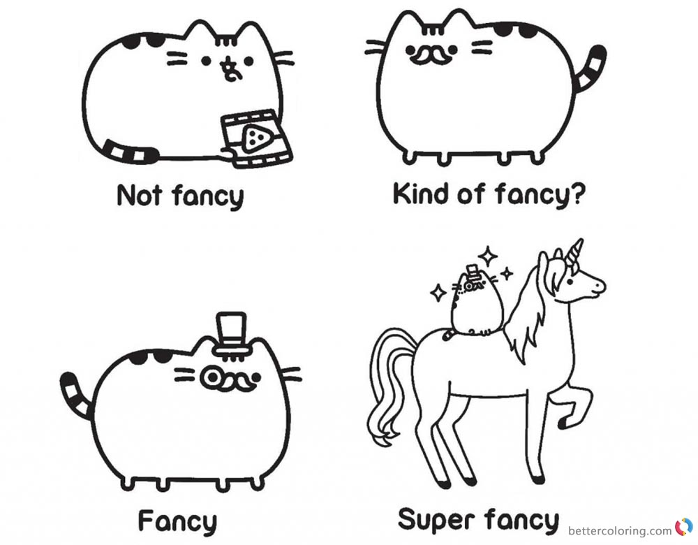 Pusheen Coloring Pages Guide to Being Fancy printable and free