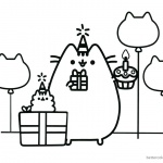 Pusheen Coloring Pages Happy Birthday Party with Dad