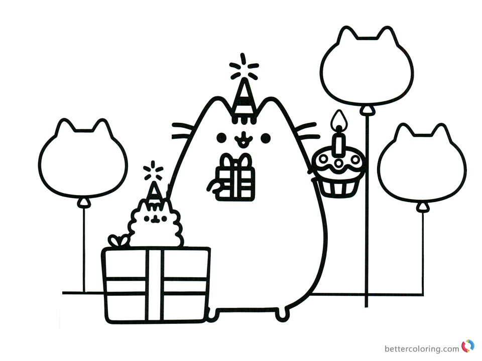 Pusheen Coloring Pages Happy Birthday Party with Dad printable and free